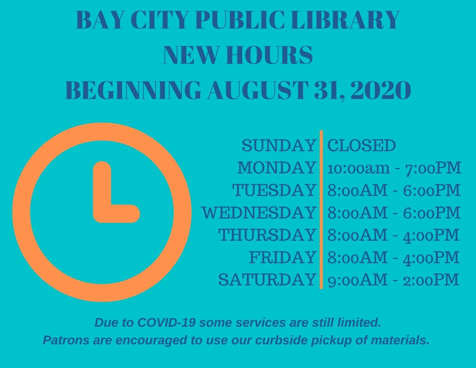 new hours for bay city public library beginning august 31, 2020