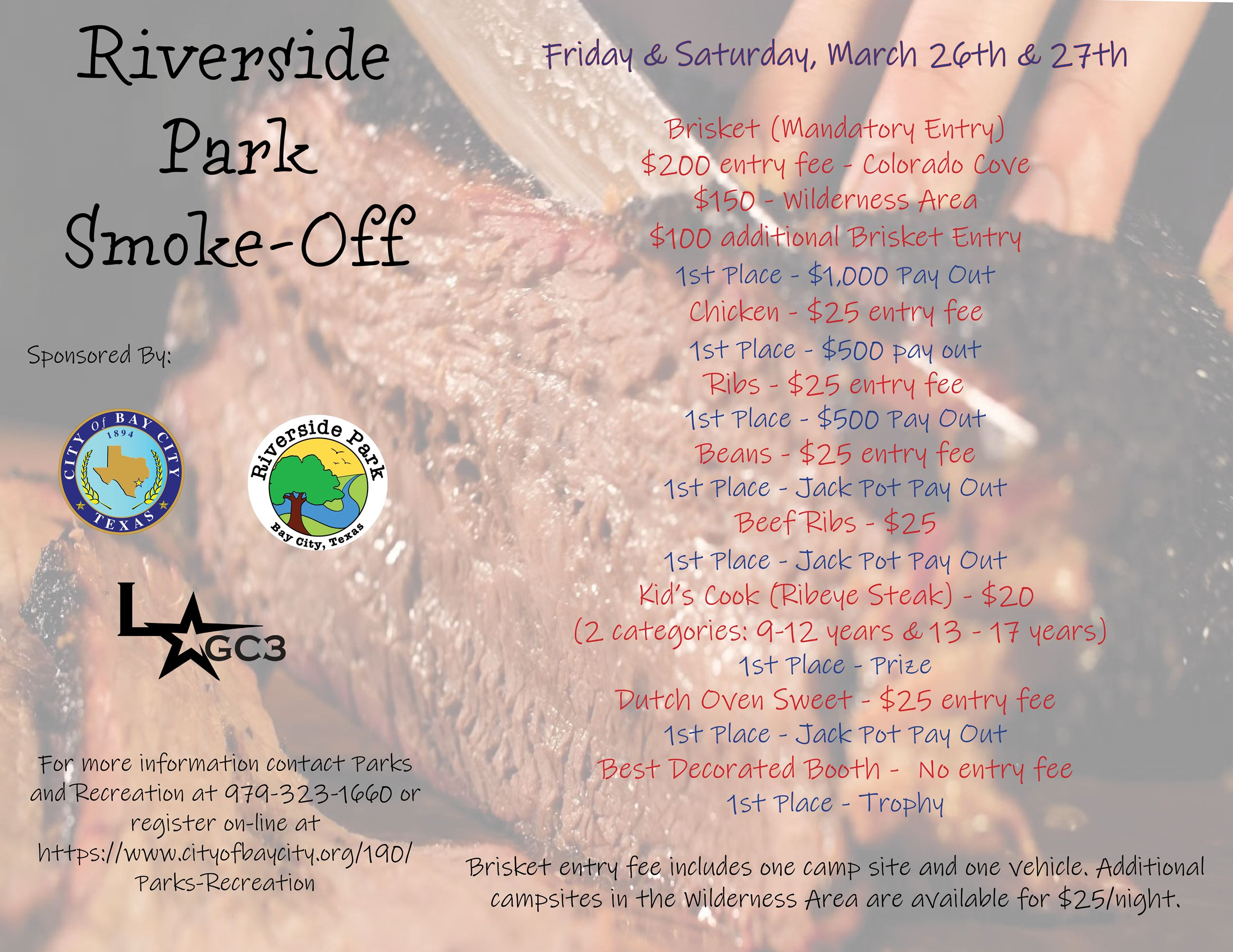 Flyer with information on the 2021 Riverside Smoke Off Event
