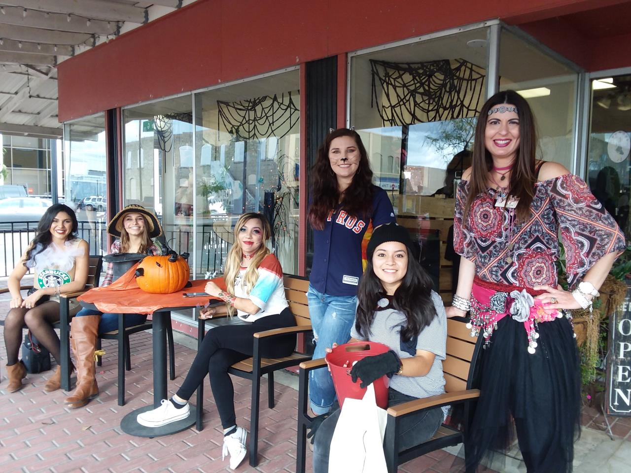 Women Dressed Up for Halloween on Main Street