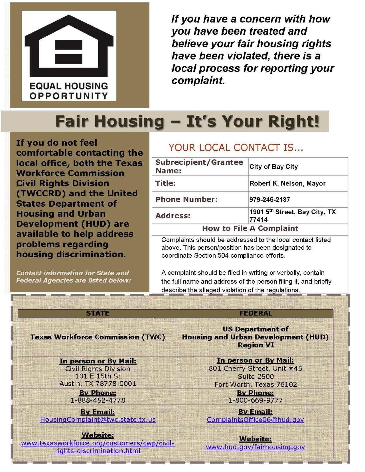 Fair Housing Poster (PDF) Opens in new window
